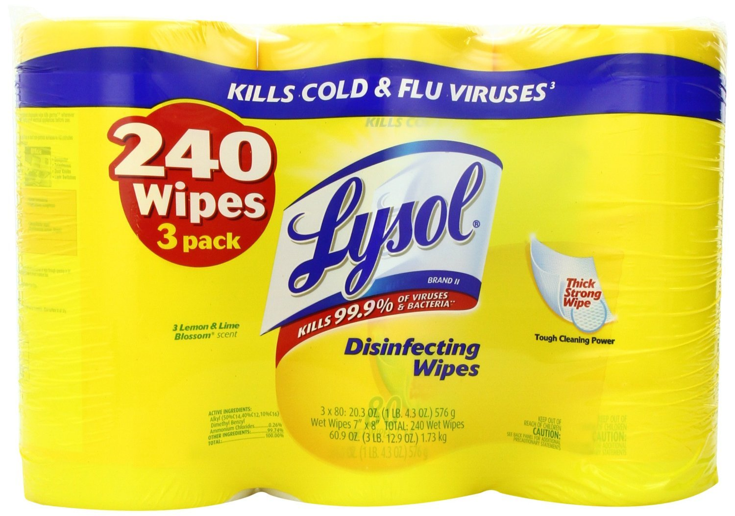 Lysol Disinfecting Wipes Value Pack, Lemon and Lime Blossom (720 Count, Lemon and Lime Blossom) by Lysol