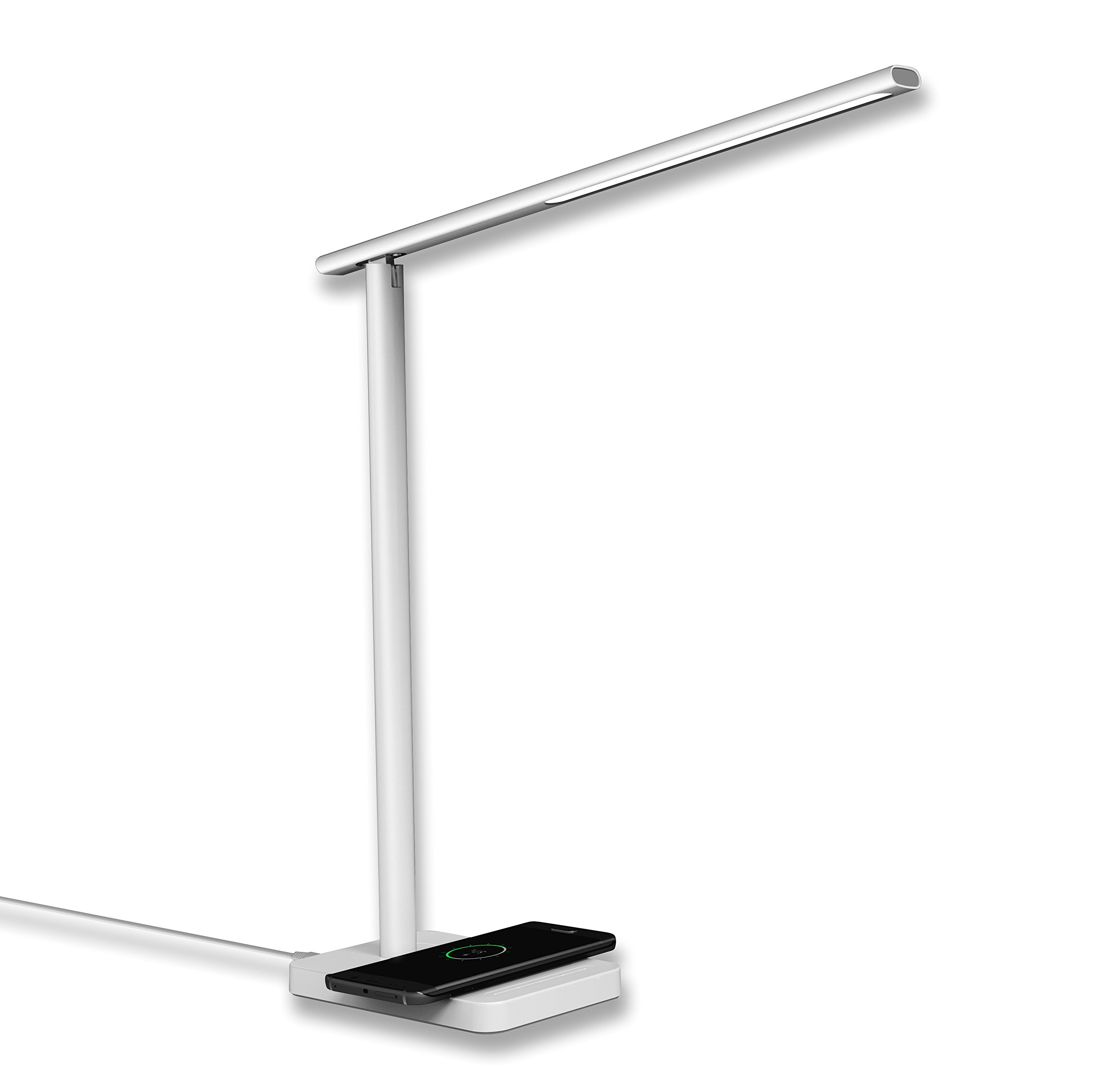 Geelky LED Desk Lamp with Qi Wireless Charger, Eye-caring Table Lamps, Dimmable Lamp with 5V/1A USB Charging Port, Office Desk Lamp, Touch, 4 Color Temperature Modes by (Porcelain White)