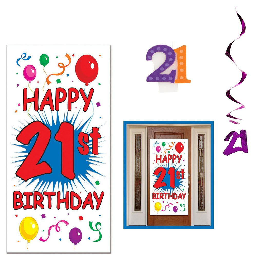 Happy 21st Birthday Party Decoration Supplies Including Door Cover and Molded 21 Candle Hanging21 swirlds Beistle Hanging21 swirlds