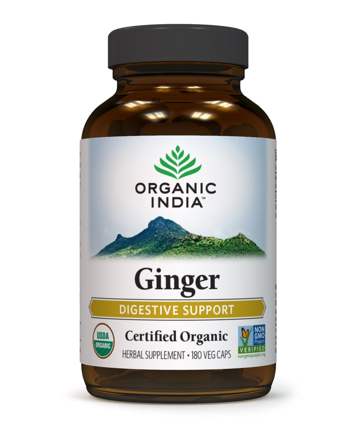 Organic India Natural Ginger Capsules (180) - Organic Ginger Nutritional Supplement for Digestive Support, GI Tract Support, Cardiovascular Functioning, Anti-Nausea Remedy, and Overall Immunity Boost