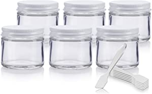 Clear Thick Glass Straight Sided Jar with White Metal Airtight Lid - 2 oz / 60 ml (6 pack) + Spatulas