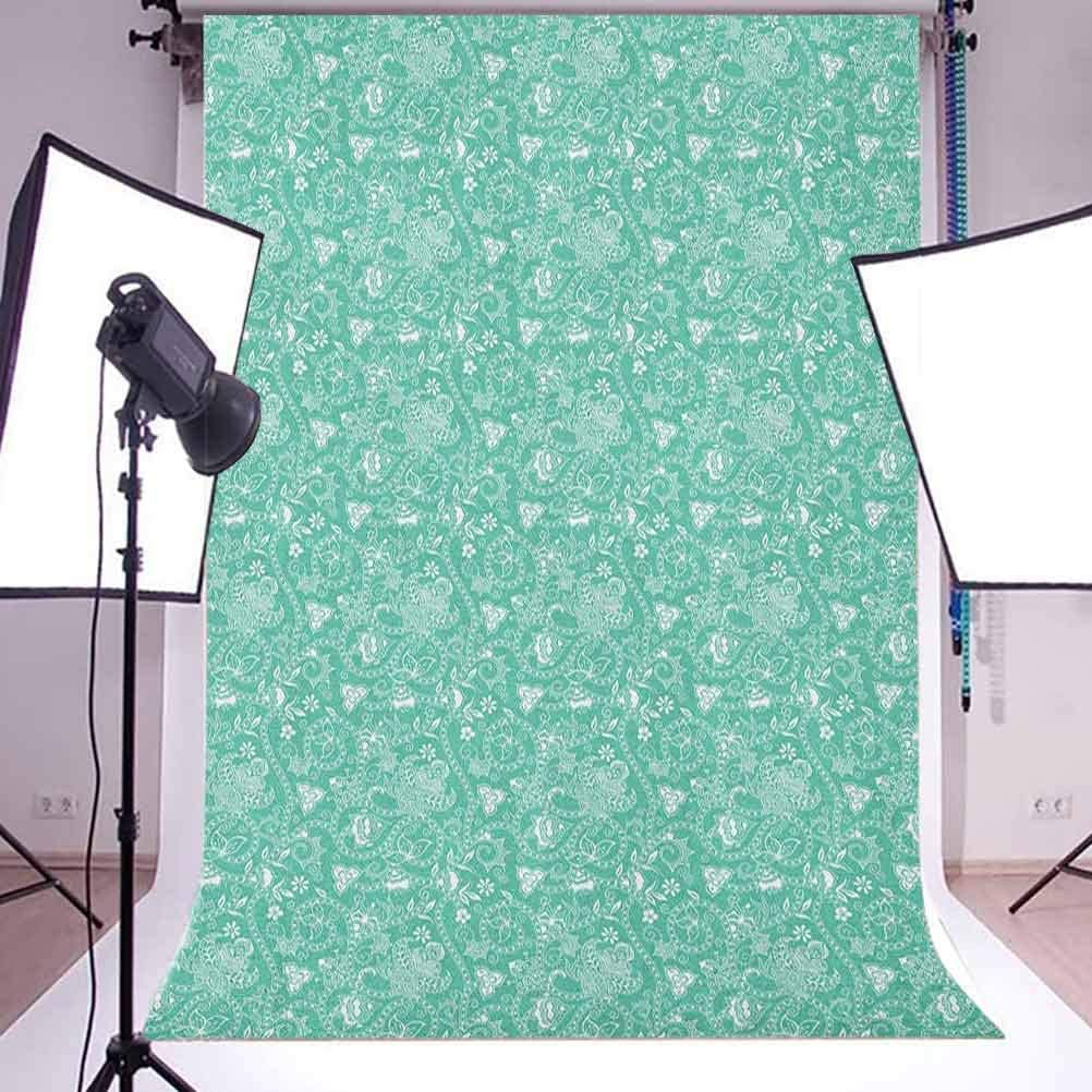 7x10 FT Vinyl Photography Background Backdrops,Antique Motif with Ornate Rhombus and Hearts Traditional European Design Background for Graduation Prom Dance Decor Photo Booth Studio Prop Banner
