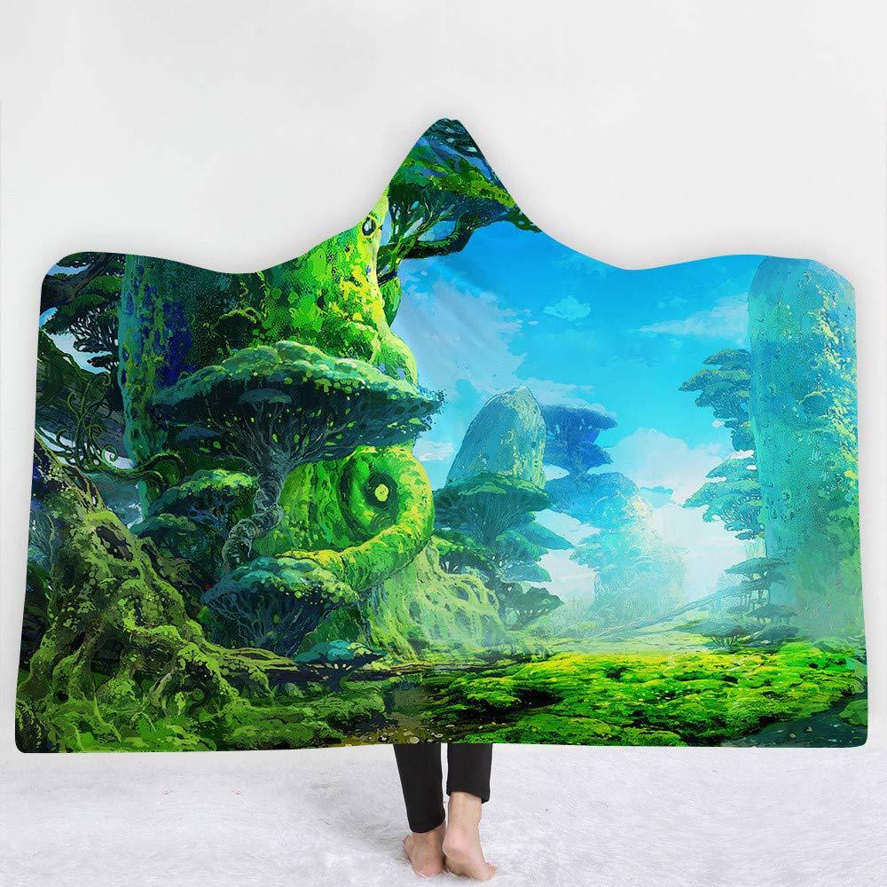 LMTR-blanket Manta Encapuchada Serie de fantasía del Bosque Gorra Encapuchada Manta casera Manta Gruesa Manta Capucha Manta de la Siesta Manta Infantil Manta
