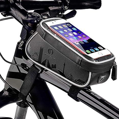 MJLXY Bolsa de Cuadro de Bicicleta,Impermeable Ciclismo Cuadro Bolso Cabeza Tubo Bolso con TPU Sensible Pantalla táctil Frente Parte Superior Tubo para teléfonos Inteligentes de 6,0 Pulgadas: Amazon.es: Deportes y aire libre