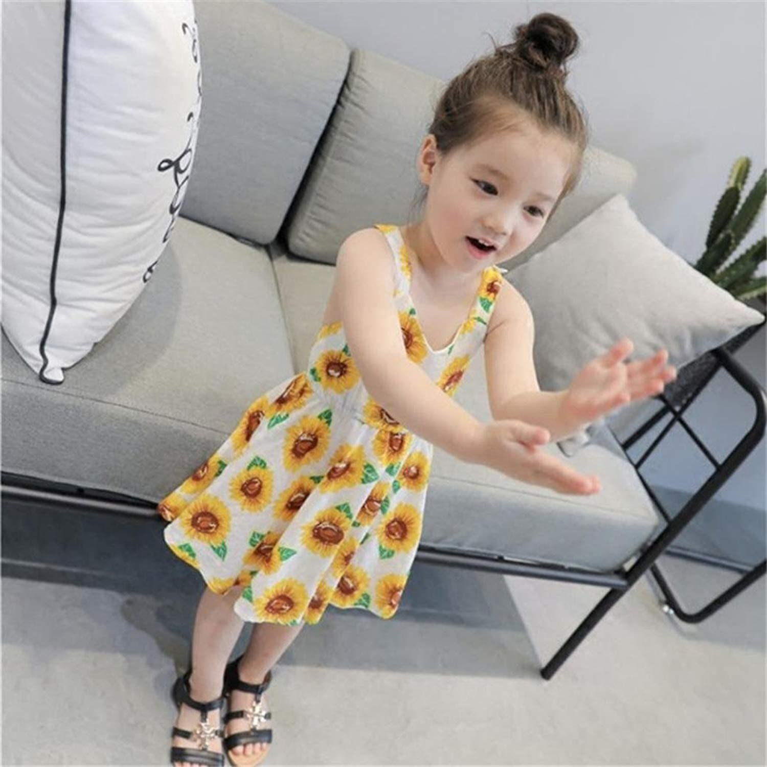YOUNGER TREE 2018 Summer Casual Little Girl Sunflower Print Backless Sleeveless Dress Sundress Clothes for Kids Toddler Baby