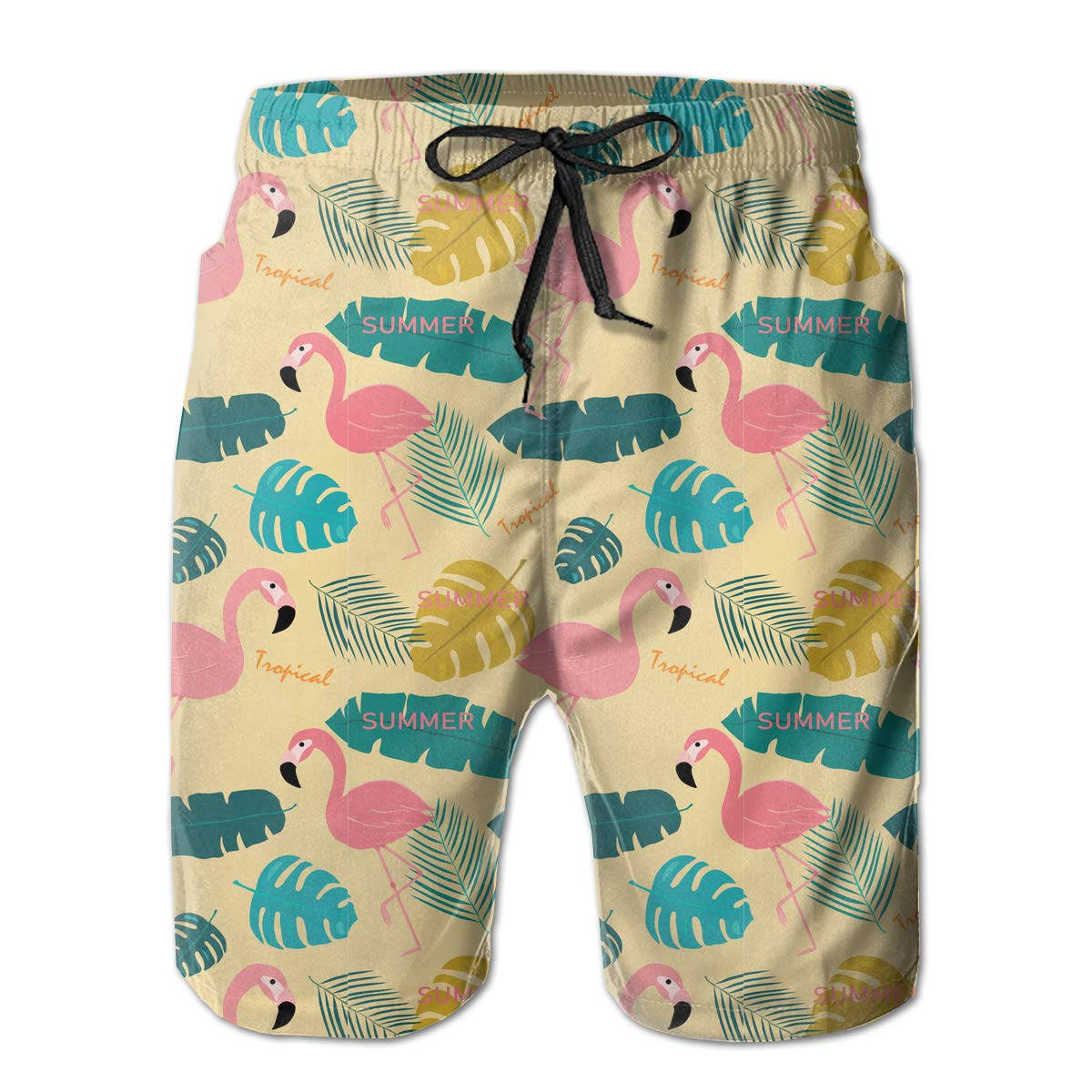 Polyester Pink Flamingo and Topical Leaves Pattern Swimsuit with Pockets Xk7@KU Mens Quick Dry Beach Shorts
