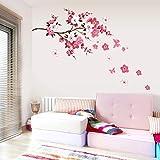 HuntGold Flor de mariposa Peach Blossom pegatinas de pared del arte del vinilo Adhesivos Mural Decoración