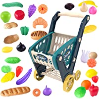 Heruo Shopping Cart Toy for Kids Mini Supermarket Grocery Cart Fruit Bread Vegetables 33 Pieces Toddler Shopping Carts…