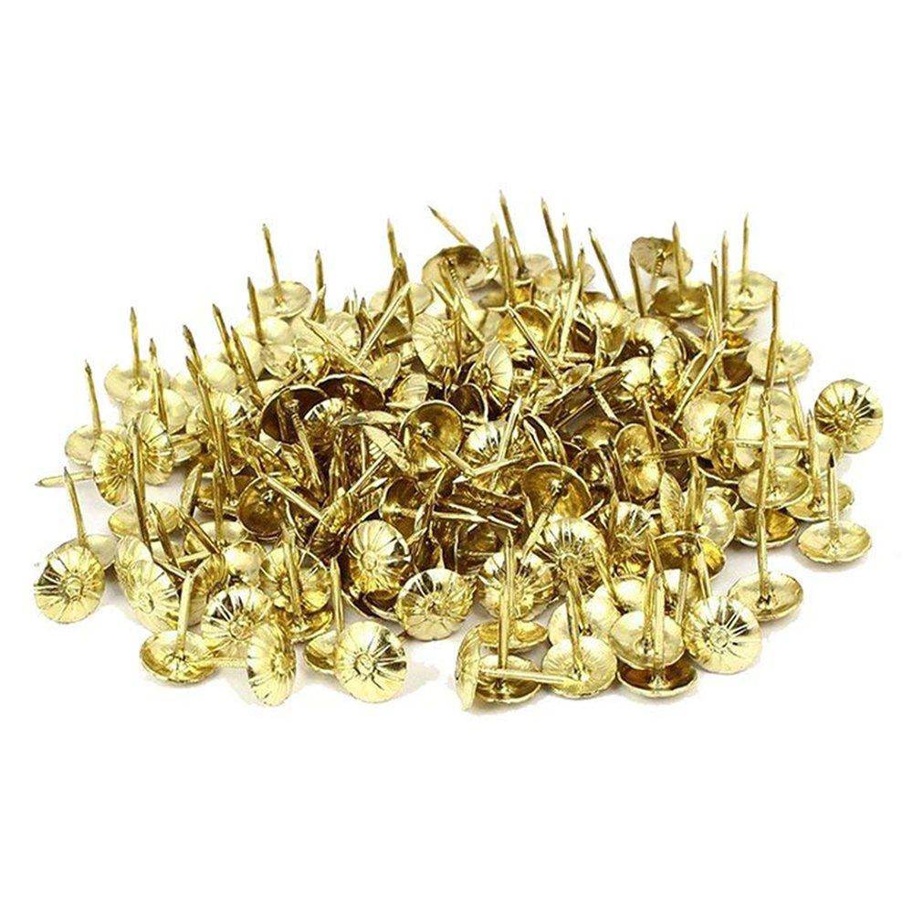 Sydien 200 Pcs Decorative Nails For Furniture Sofa Headboard Wall Decor Tacks Crystal Charm Upholstery Nails Heads Gold Tone