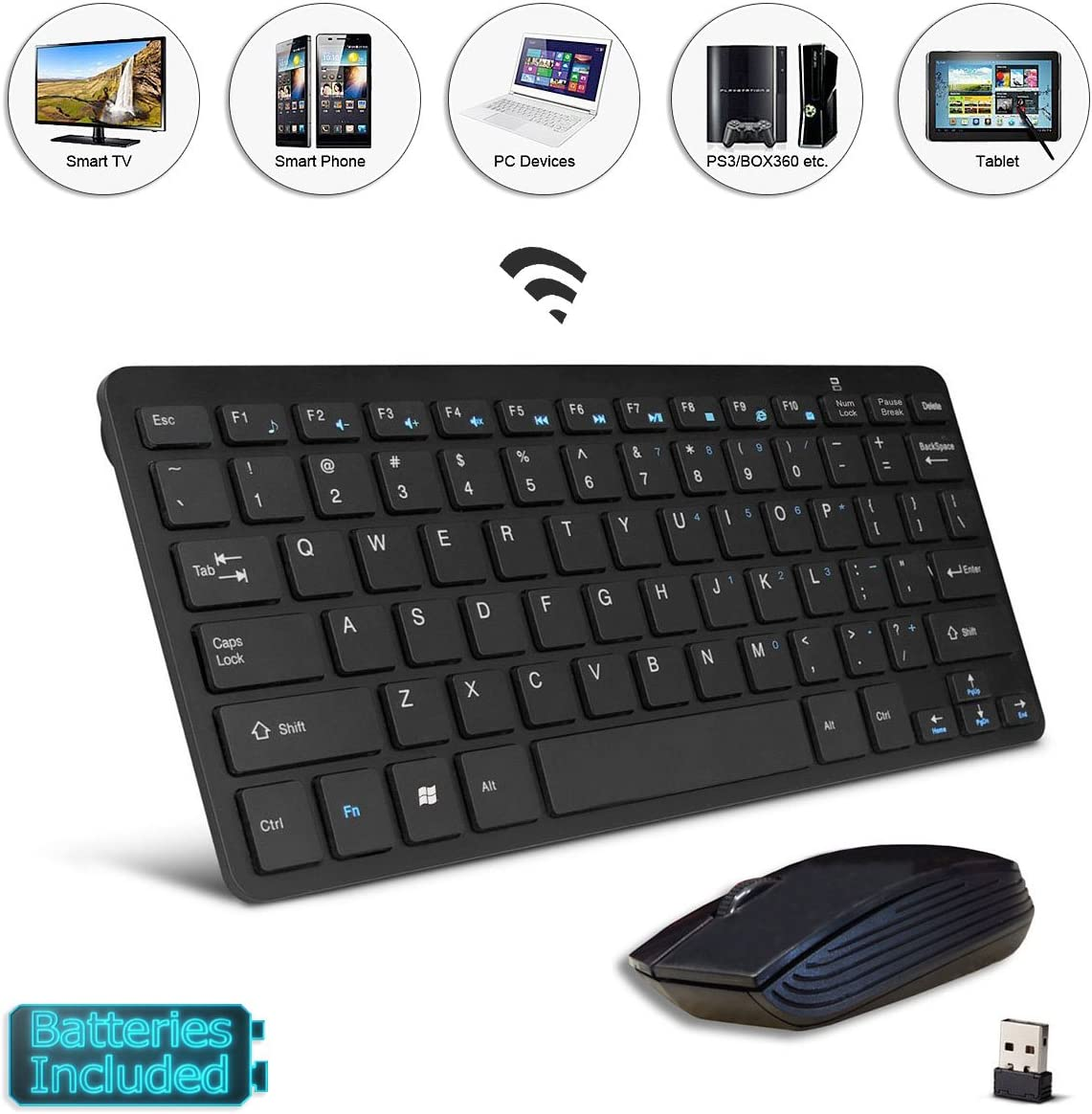 Black Wireless Mini Ultra Slim Keyboard and Mouse For Easy Smart TV Contol for Hisense H49N6600 49 Smart TV