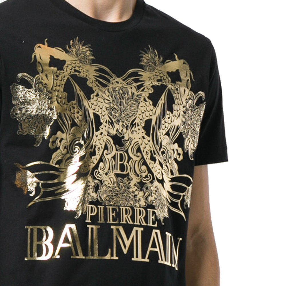 92f9cfa7 Pierre Balmain Koi & Logo Gold Print Tee, Black ($250) | Amazon.com