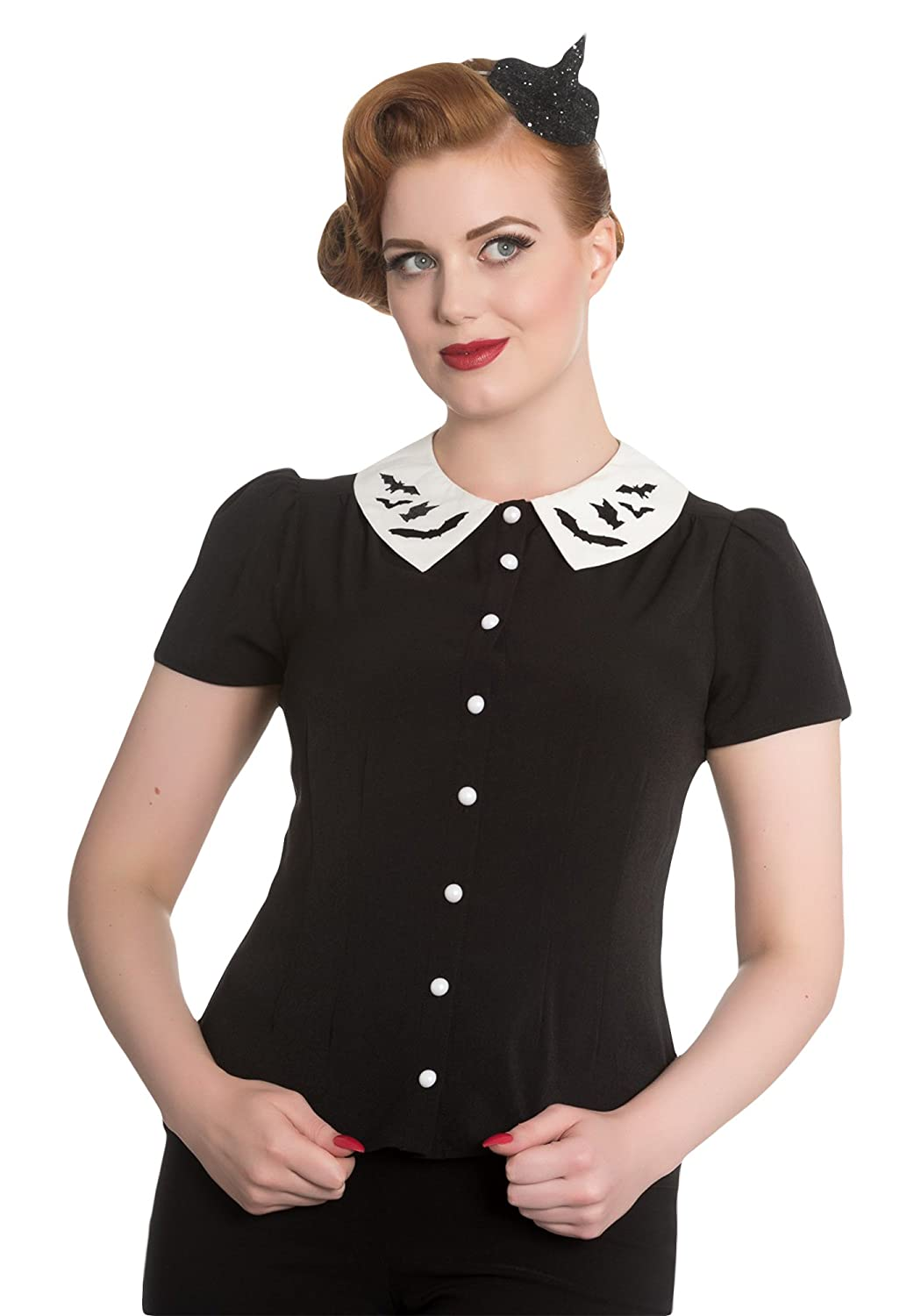 Vintage Retro Halloween Themed Clothing Hell Bunny Peter Pan Collar Full Moon Bat Blouse $42.90 AT vintagedancer.com