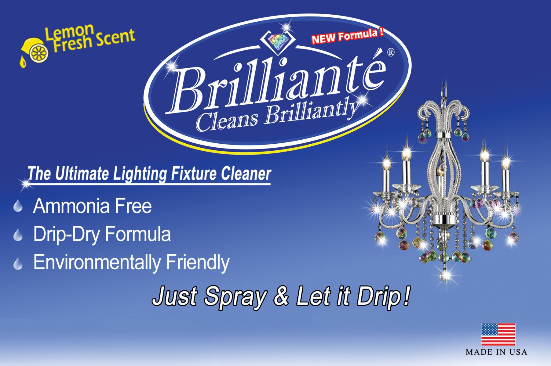 Brilliante Crystal Chandelier Cleaner 1 Gallon Refill Environmentally Safe, Ammonia-free, Drip-dry Formula, Made in USA by Brilliante Crystal Cleaner (Image #3)