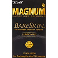 TROJAN Magnum Bareskin Lubricated Large Size Condoms 10 ea