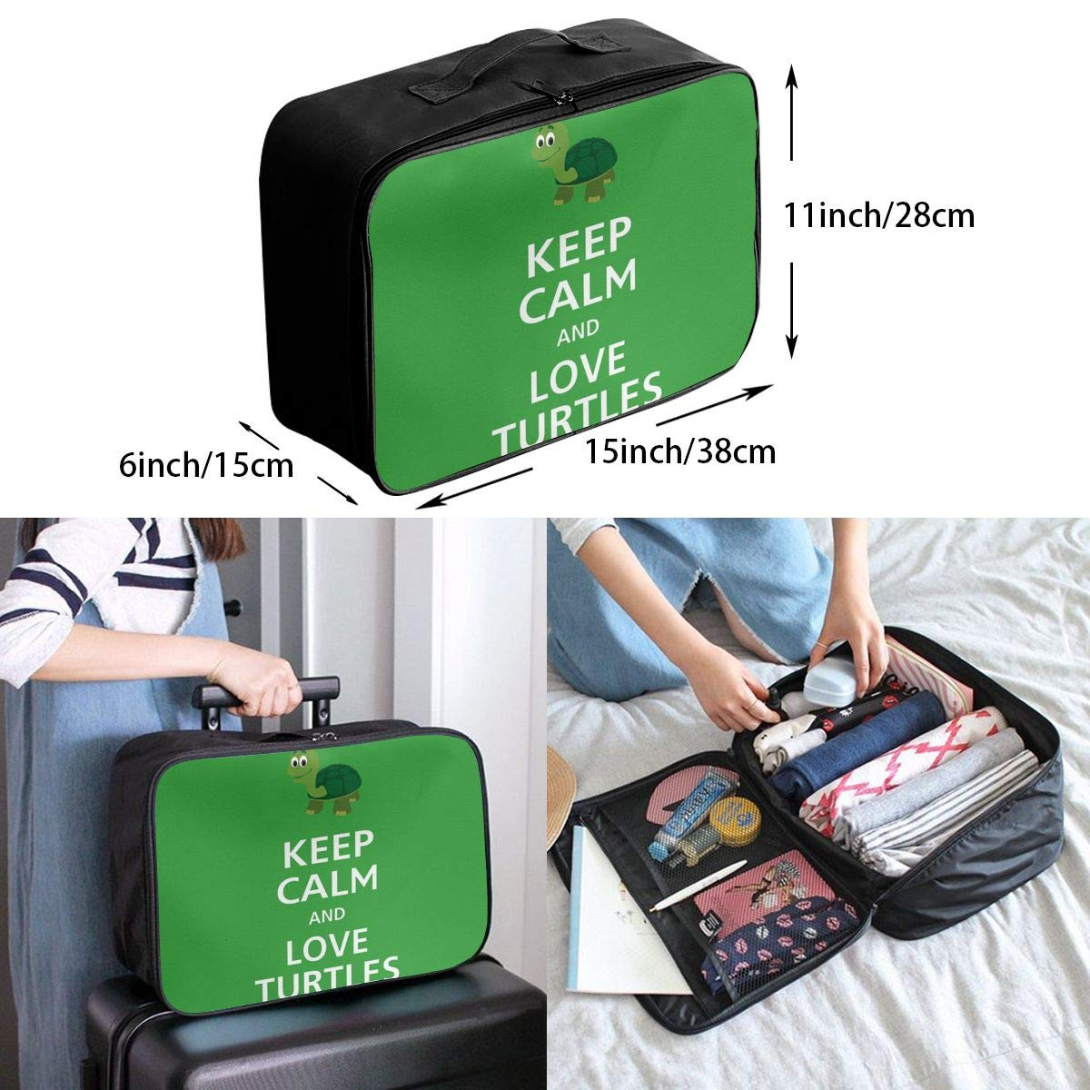 Travel Luggage Duffle Bag Lightweight Portable Handbag Love Turtles Large Capacity Waterproof Foldable Storage Tote