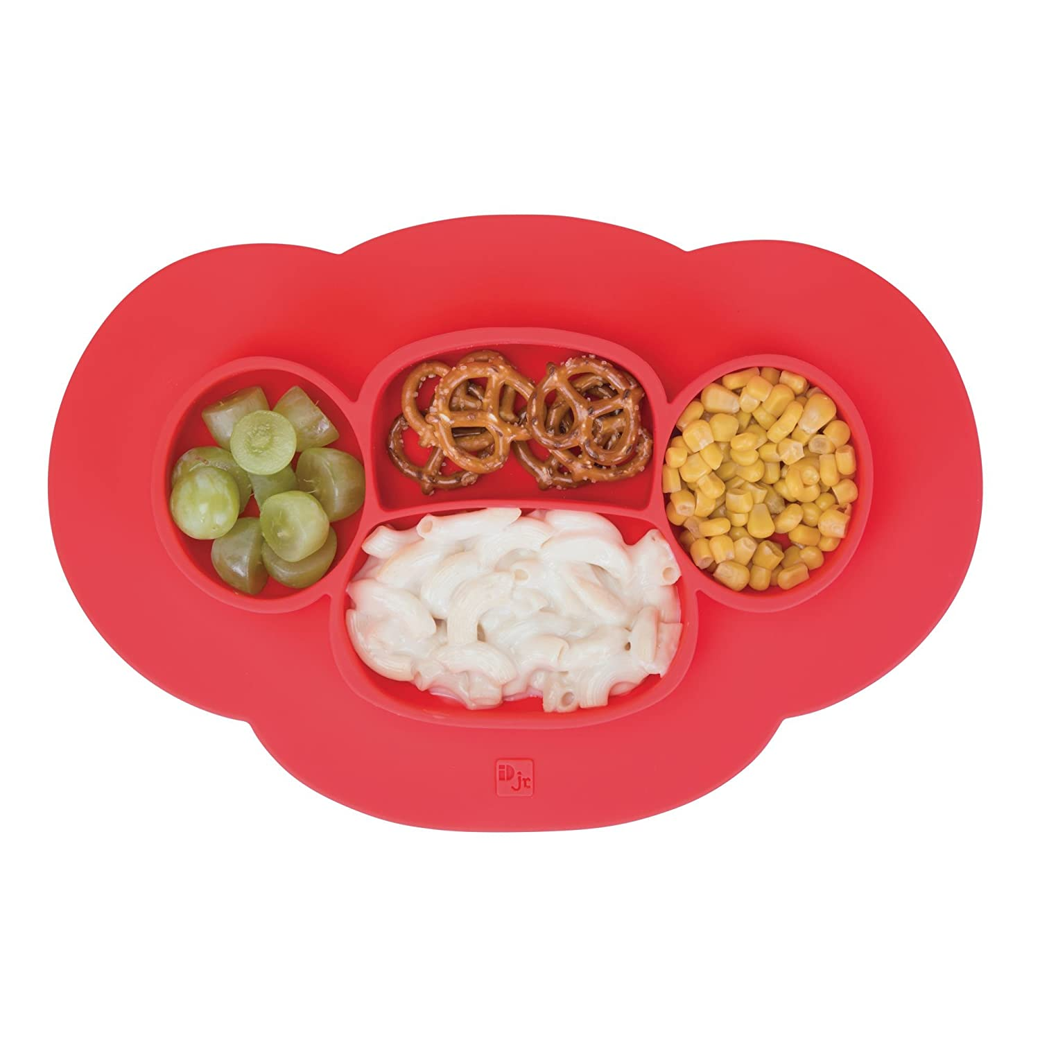 mDesign Silicone Mini Mealtime Plate and Placemat for Babies, Toddlers, Kids - BPA Free, Food Safe � Stays in Place � 4 Sections - Microwave and Dishwasher Safe, Fun Monkey Design, Teal Blue MetroDecor 01501MDB