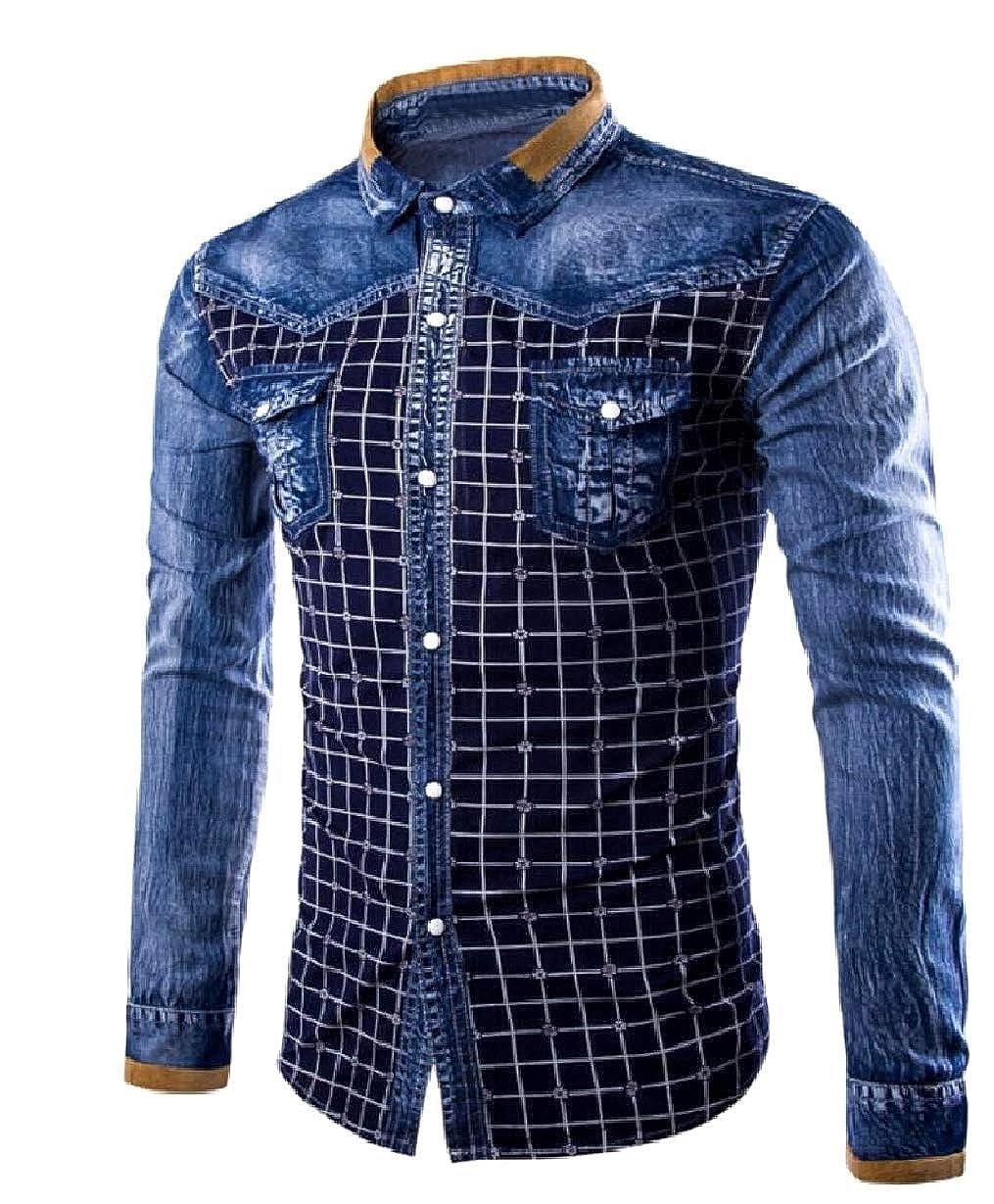 Mfasica Mens Relaxed Denim Buttoned Front Long Sleeve Shirt Tops