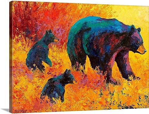 Double Trouble Black Bear Canvas Wall Art Print