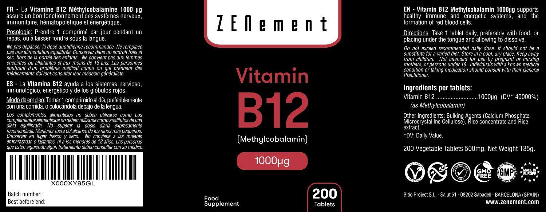 Vitamina B12 Metilcobalamina 1000 µg, 200 Comprimidos | Ayuda a los sistemas nervioso, inmunológico, energético y de los glóbulos rojos | Vegano, ...