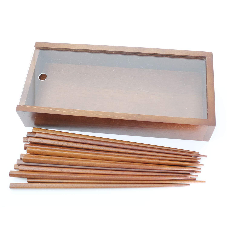 Natural Jujube Wood Chopsticks Set Reusable Classic Style Chopsticks 10 Pairs Set with Case