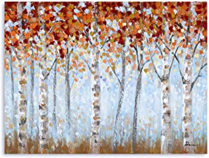 B BLINGBLING Red Birch Trees Forest Landscape Painting Framed for Wall Decor: White Aspen Tree with Abstract Burgundy Orange Leaves Canvas Art Fall Picture for Living Room Bedroom Decorations 32