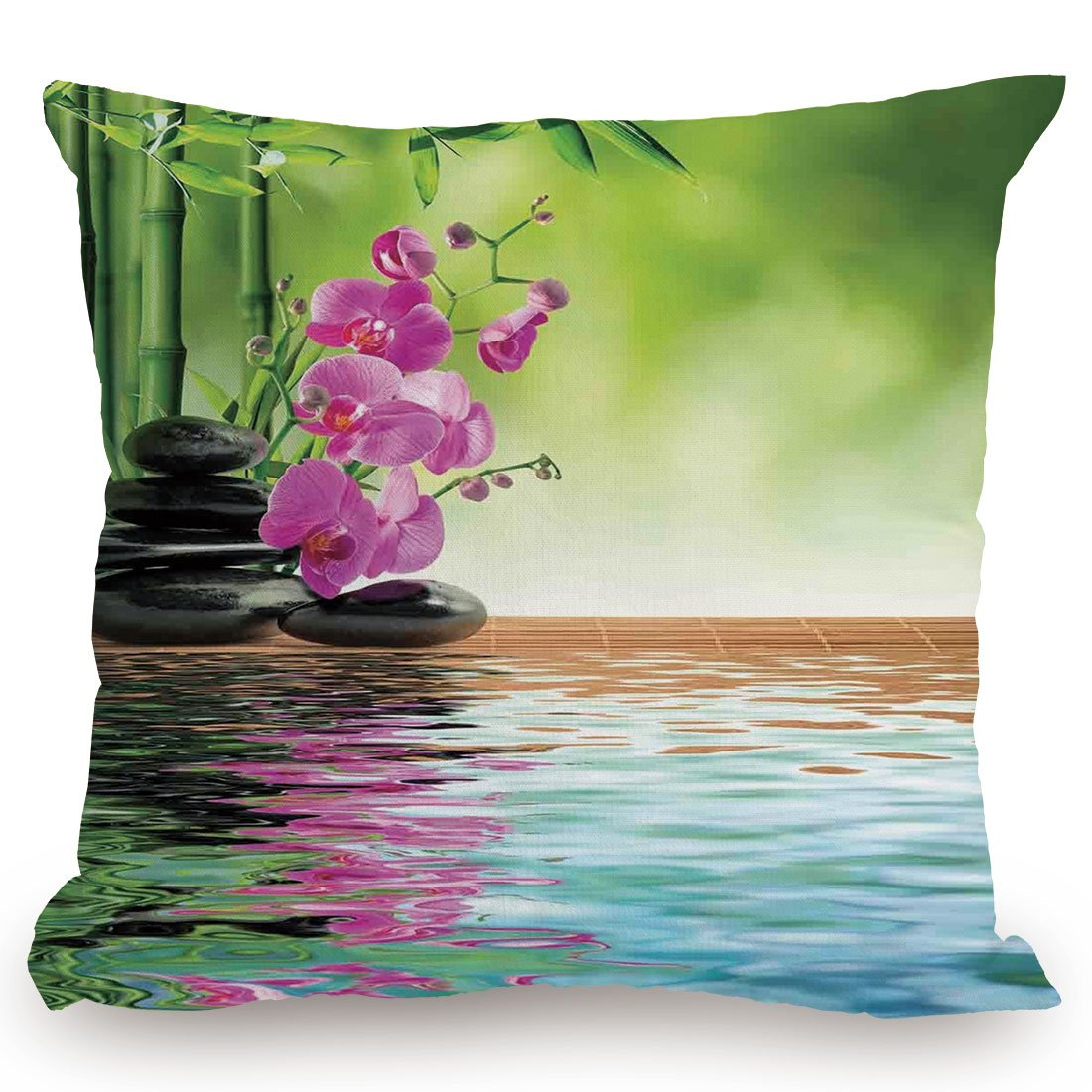 KissCase Throw Pillow Cushion Cover,Spa Decor,Orchid Flower Stone Oriental Culture Spirituality Wellness Tropical Holiday,Decorative Square Accent Pillow Case