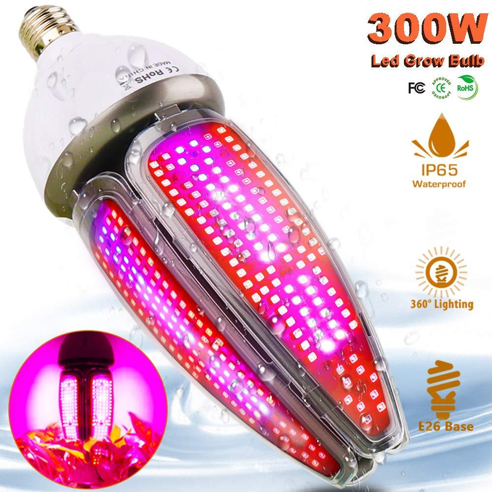 300W LED Grow Light Blub Full Spectrum,Waterproof 65 Led Plant Lights for Indoor Plants, 360 Degree Lighting E26 Grow Lamp for Hydroponics Seedlings Vegetables Flowers by MILYN