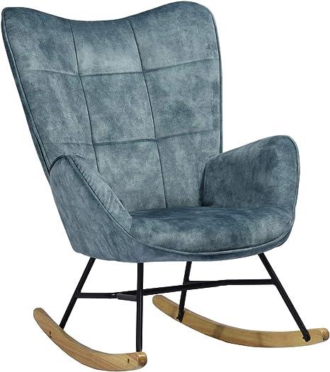piedi in legno 69 x 84 x 97 cm Meuble Cosy Poltrona a dondolo sala da pranzo per il tempo libero e il riposo in tessuto blu per il soggiorno