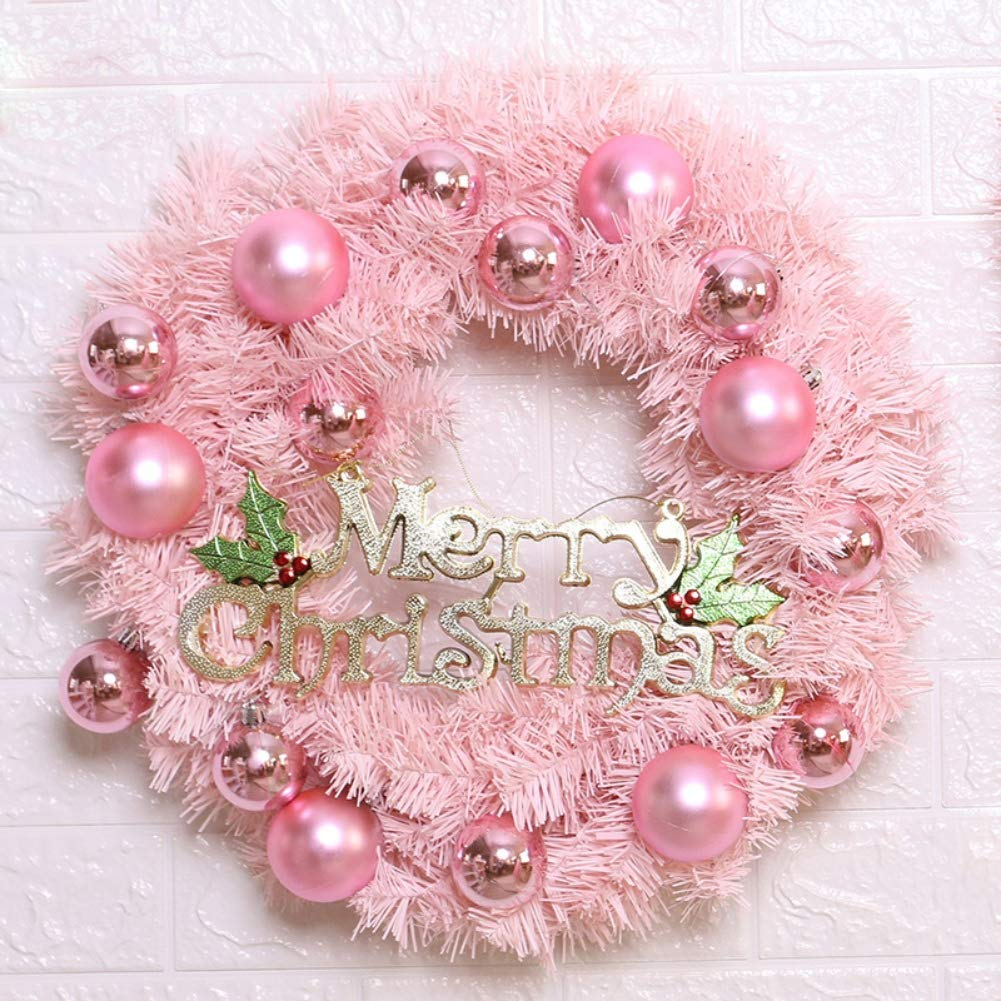 Coherny Artificial Christmas Wreath Garland with Ball Baubles Ornament for Front Door Window Wall Hanging Decor with or Without LED String Light