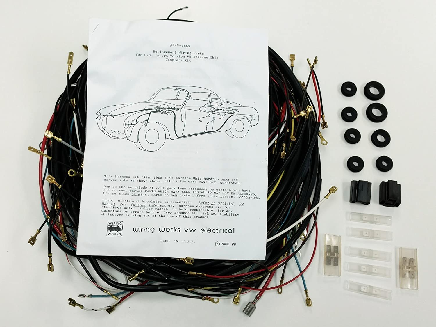 Amazon.com: 1968-1969 ALL Karmann Ghia VW COMPLETE Wiring Works Wire Harness  Kit - USA MADE: Automotive