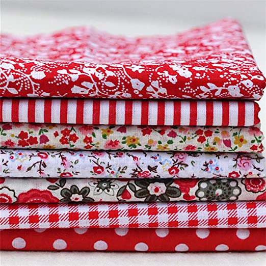 Deike Mild - Juego de 7 telas de algodón para patchwork, tejido de patchwork, cojín para coser, material de scrapbook, rojo, 25x25cm: Amazon.es: Hogar