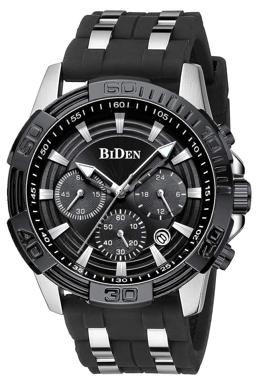 BIDEN Relojes para Hombre de Moda Reloj de Pulsera Casual Diseño único Cool Acero Inoxidable de Cuarzo analógico Sport para Hombre de Reloj Impermeable para Azul