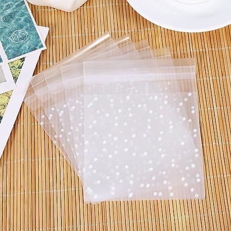 TENNESKY 100 pcs Bolsas Bolsas Galletas Galletas Transparente Bolsas de Caramelos autoadhesiva 10 x 10 cm Bolsas de Regalo para cumpleaños Boda Fiesta