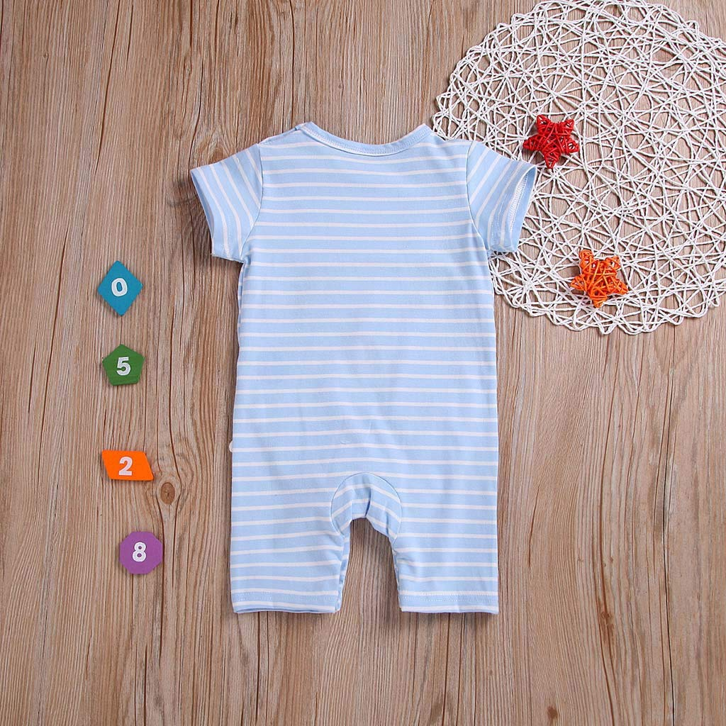 Kehen Kid Toddler Baby Girl Boy Cotton Pajamas Striped Rabbit Print Romper Jumpsuit Summer Clothes
