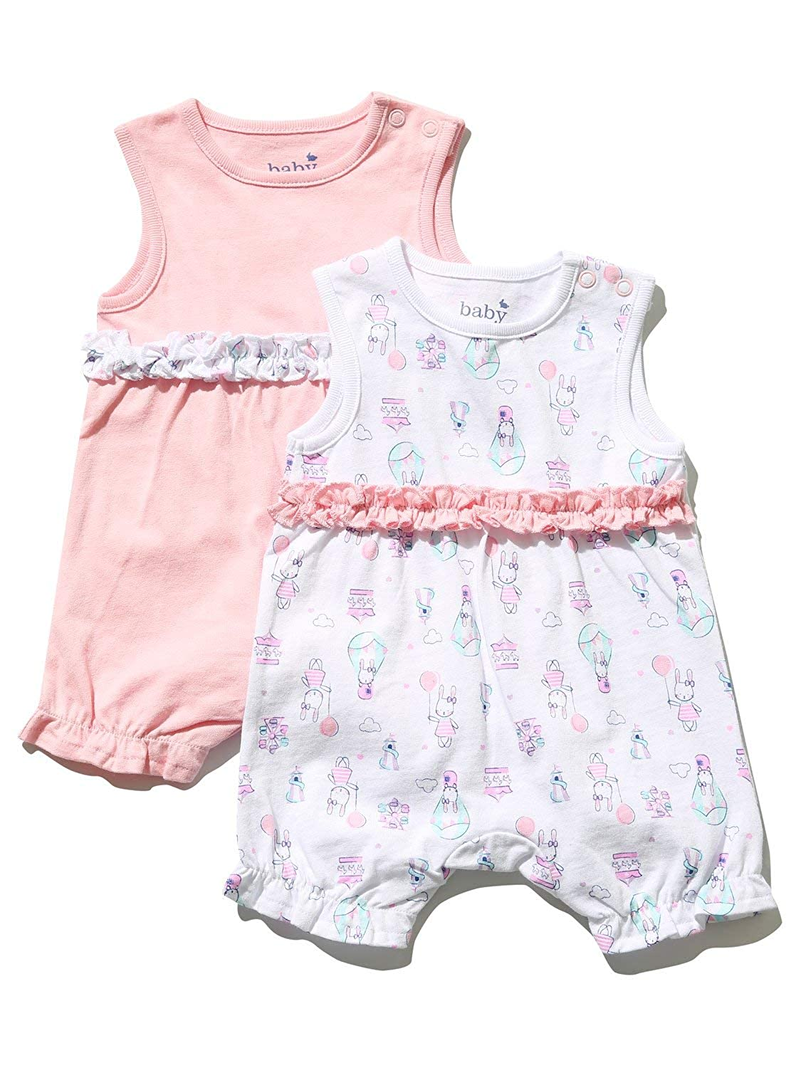 M/&Co Baby Girl Frill Romper Two Pack with Frill Trims