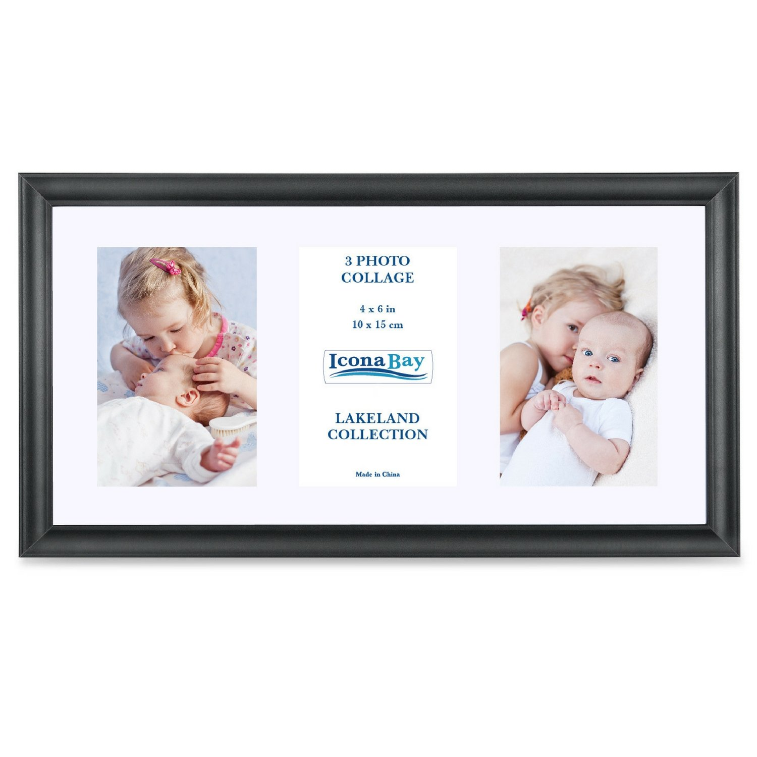 Icona Bay 8x16 Picture Frames Collage with Mat Displays Three 4x6 Photos (2 Pack), Black Frame, Wood Finish Frame, Photo Collage Frames for Walls or Table, Mat 4x6 Included, Lakeland Collection