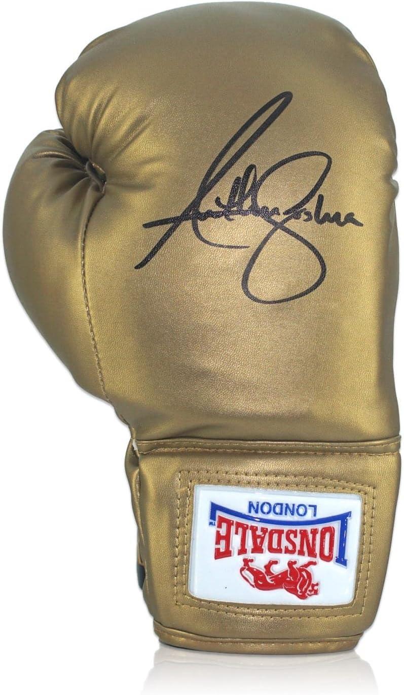 Anthony Joshua firmó el oro Lonsdale guante de boxeo en el caso de exhibición: Amazon.es: Deportes y aire libre
