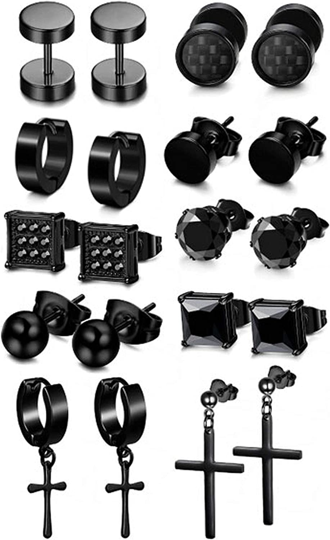 Adramata 10 Pairs Stainless Steel Black Hoop CZ Stud Earrings Set for Men Women Cross Dangle Huggie Ear Piercing Jewelry