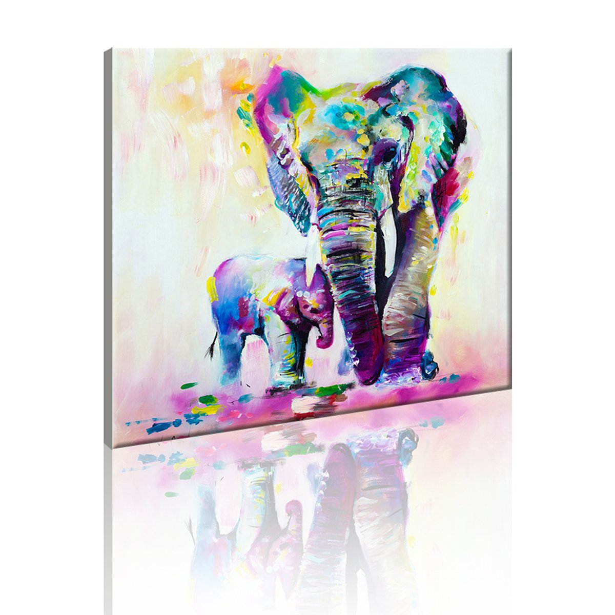 Fly spray 1 panel framed 100 hand painted oil paintings canvas wall art colorful elephants mom child animal modern abstract artwork painting for living