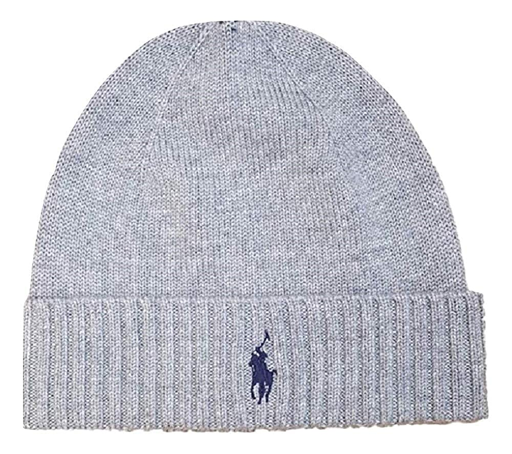 c33d9d9a81c0fb Ralph Lauren Fold Over Beanie Hat Grey: Amazon.co.uk: Clothing