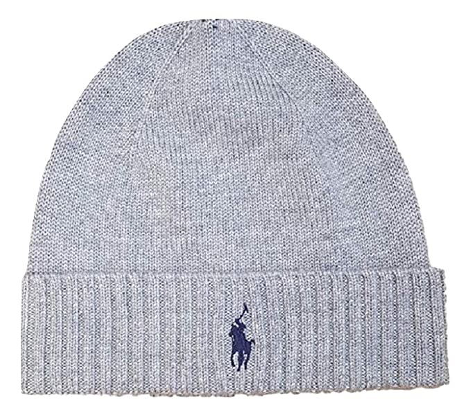 351b1fcd999d8 Ralph Lauren Fold Over Beanie Hat Grey  Amazon.co.uk  Clothing
