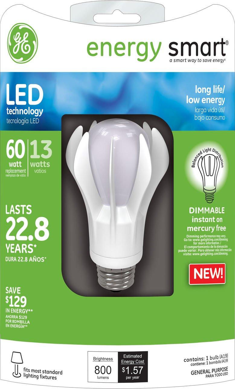 GE Lighting 64130 Energy Smart LED 13-Watt (60-watt replacement) 800-Lumen A19 Light Bulb with Medium Base, 1-Pack - Led Household Light Bulbs - Amazon.com
