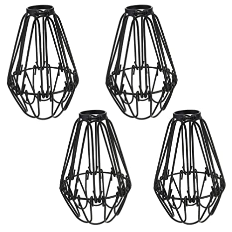 Adjustable wire cage lampshade motent 4pcs vintage industrial metal adjustable wire cage lampshade motent 4pcs vintage industrial metal bird cage bulb guard island pendant keyboard keysfo
