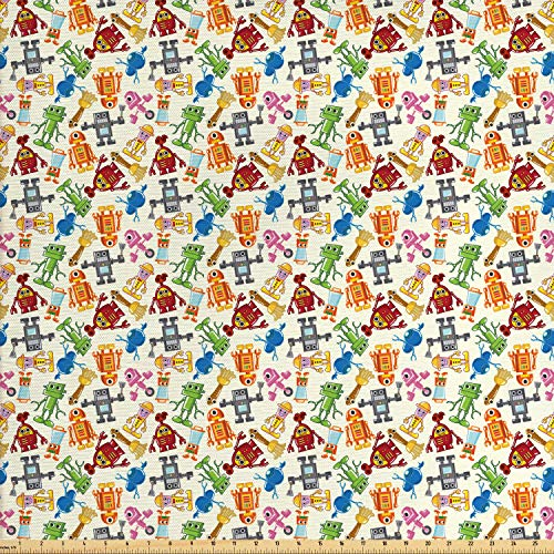 Ambesonne Robot Fabric by The Yard, Colorful Cartoon Robots Nursery Style Theme Futuristic Fantastic Science Toys Design, Decorative Fabric for Upholstery and Home Accents, 2 Yards, Multicolor