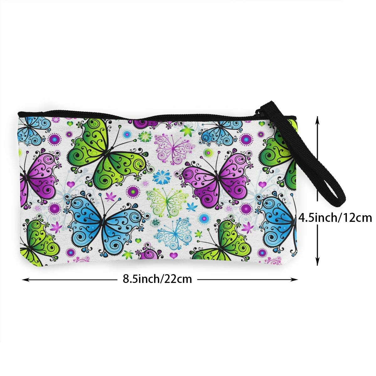 Canvas Cash Coin Purse,Spring Colorful Butterfly Print Make Up Bag Zipper Small Purse Wallets