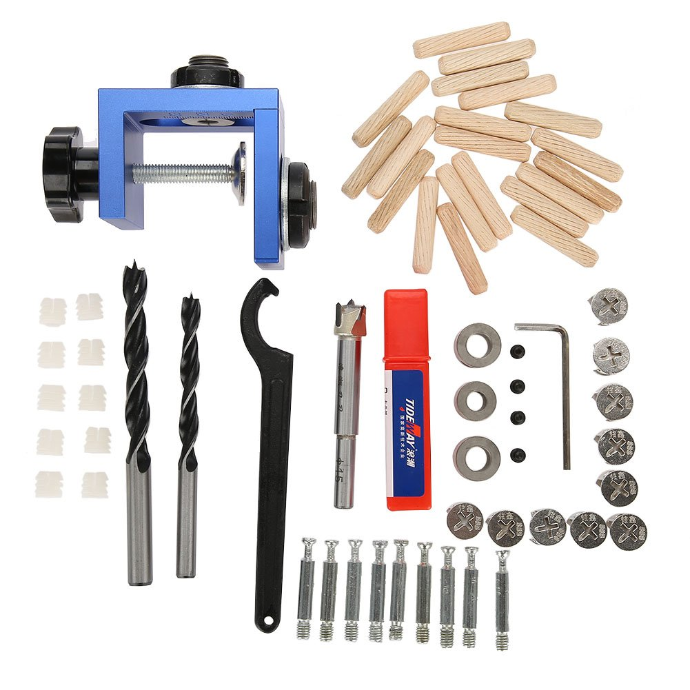Zerodis 3 in 1 Wood Dowel Hole Drilling Guide Jig Kit, Wood Dowel Hole Drill Bit 8mm/10mm Carpentry Positioner Locator Tool with Hole Cutter