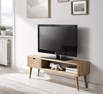 Hogar24 TV-Tisch im Vintage-Design, Wohnzimmermöbel mit Ablage und  Schublade, natürliches Massivholz, handgefertigt. Abmessungen: 40 x 100 x  30 cm