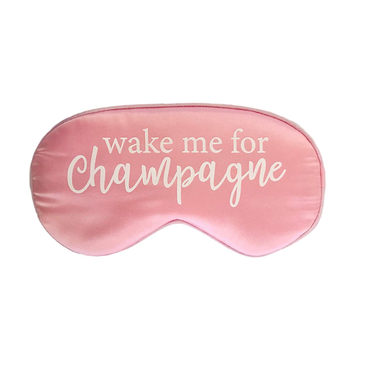 Silk Wake me for Champagne Sleep Mask in Pink with Adjustable Strap
