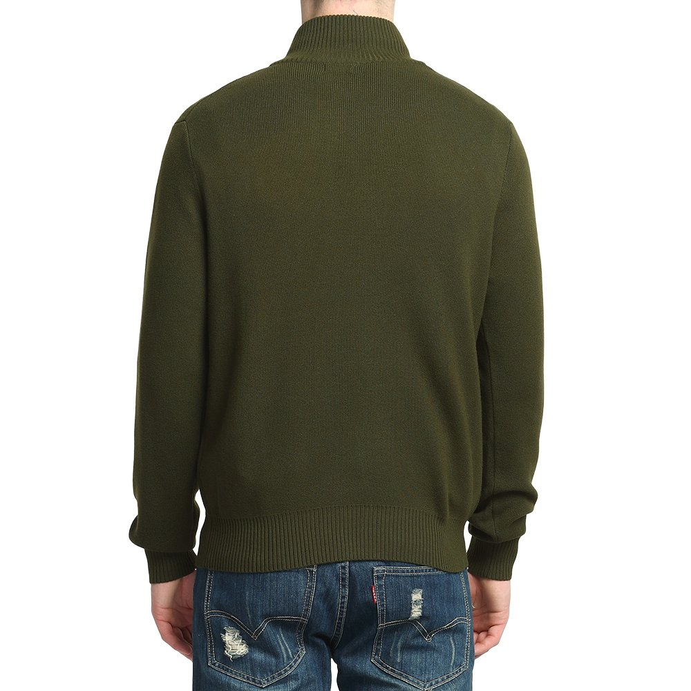 Kallspin Men/'s Relaxed Fit Zip Neck Chunky Knitted Jumper with YKK Zipper