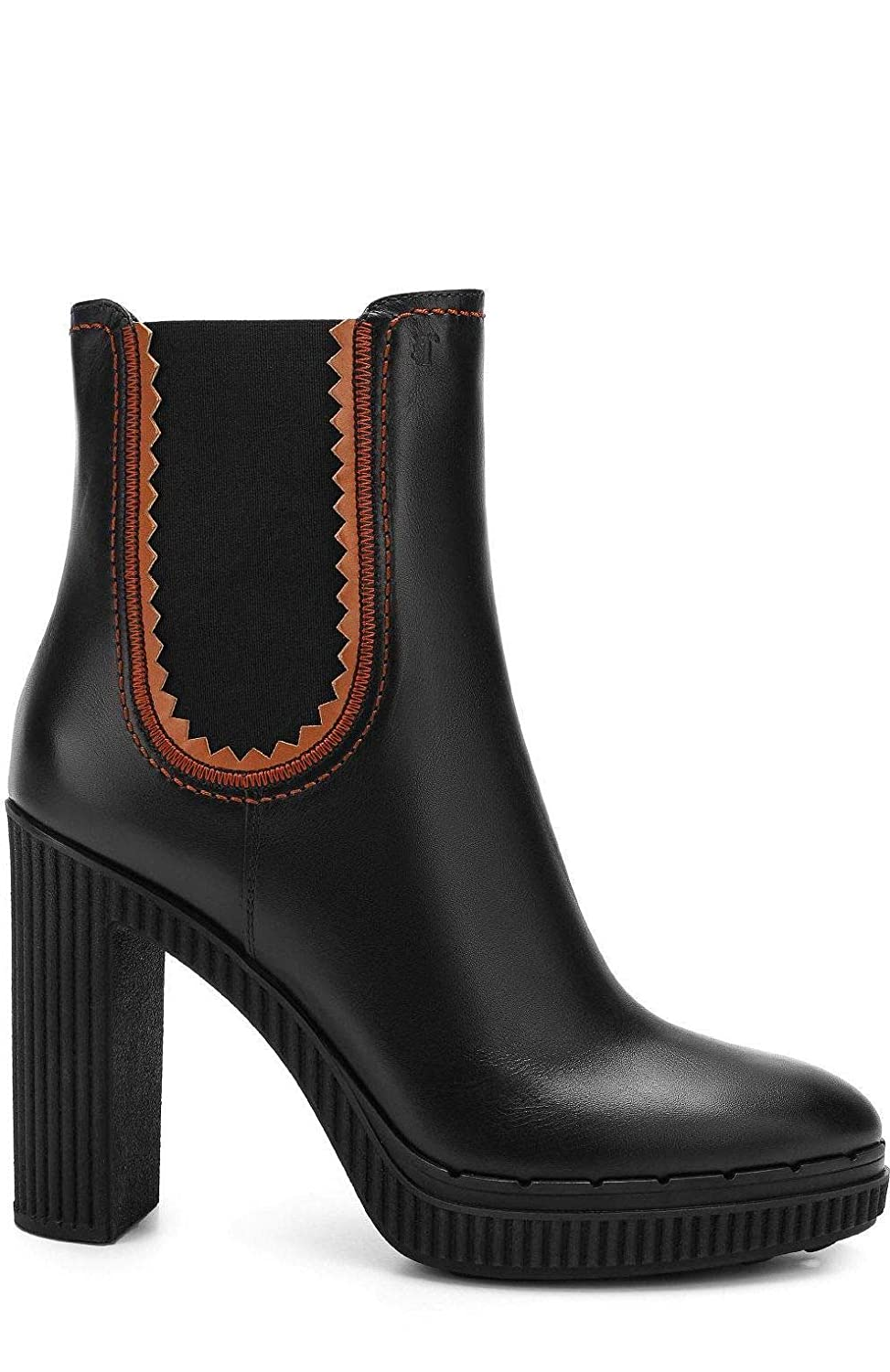- Tod's Women's XXW64A0W330I45758H Black Leather Ankle Boots